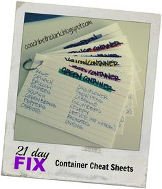 21 Day Fix - Container Cheat Sheets. Such a good idea.