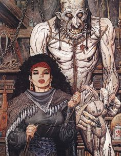 Gypsy & Frankenstein monster by Arthur Adams Fantasy Girl, Dark Fantasy, Comic Artist, Artist Art, Character Art, Character Design, Marvel Coloring, Heavy Metal Art, Gypsy Women