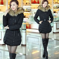 Discount Korean Fashion Fur Hooded Solid Long Slim Women Thicken Down & Parkas Coat in women down parkas on sightface.com