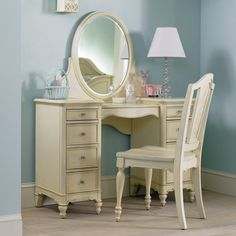 furniture: Light Blue Accents Wall Paint Of Bedroom Ideas With Antique Vanity Table Set Paired With Round Mirror Mounted Plus Elegant Floor Lamp, 3 Antique Vanity Table for a Gorgeous Powder Room, Luxury Busla: Home Decorating Ideas and Interior Design Teen Furniture, Furniture Vanity, Hooker Furniture, Furniture Decor, Bedroom Furniture, Adams Furniture, Furniture Buyers, Antique Vanity Table, Vanity Table Set