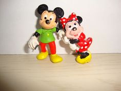 Mickey Minnie Mouse Green Shirt Red Pants FIGURE DISNEY pencil cake topper  lot  #Applause