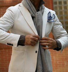 \\ white blazer, brown chambray shirt, grey plaid scarf & white bandana pocket tie w/navy details