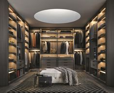 Large or small, a walk-in closet is a room all its own. A high-quality door and drawers, installed accessories, finishes, lighting, and layout options create a custom-designed and organized space that is a joy to use every day. #bedroom #HomeImprovement #Unique #Design