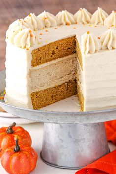 Cake - layers of moist pumpkin cake and spiced cheesecake! Perfect for Thanksgiving! Pumpkin Cheesecake Recipes, Cheesecake Cake, Pumpkin Recipes, Layered Pumpkin Cheesecake, Mini Cakes, Cupcake Cakes, Cupcakes, Delicious Desserts, Dessert Recipes