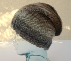 Knit Striped Hat, Spiral Knit Hat, Brown Striped Hat, Wool Blend Hat, Beanie, Mens Hat, Womens Hat, Teen Hat, Slouchy Hat by BaySeaKnits on Etsy