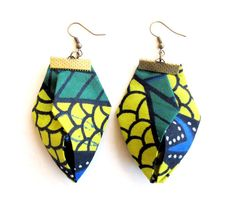 Giant statement origami fiber  earrings in African by Gilgulim, $18.80