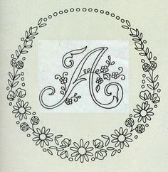 Embroidered alphabet with classic embroidery Embroidery Alphabet, Embroidery Monogram, Flower Embroidery Designs, Hand Embroidery Stitches, Vintage Embroidery, Ribbon Embroidery, Embroidery Art, Cross Stitch Embroidery, Wreath Drawing