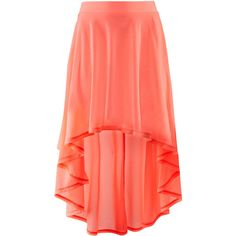 H to me has always had very cute seasonal clothing ! this coral hi-low maxi skirt with a basic white sleeve crop top , gold accesories and a camel brown beach bag with your floppy hat