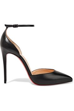 Christian Louboutin Black leather Buckle-fastening ankle strap Made in Italy