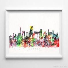 Verona Italy Skyline Watercolor Wall Art Print. Prices from $9.95. Available at InkistPrints.com - #skyline #watercolor #cityscapes #bedroomdecor #homedecor #Verona #Italy