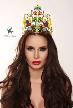 Crown for Miss Universe Slovakia 2012 with Slovak folk ornaments by Petra Toth Jewellery. Beauty Pageant, Crowns, How To Make, Universe, Jewellery, Beautiful, Modern, Design, Fashion