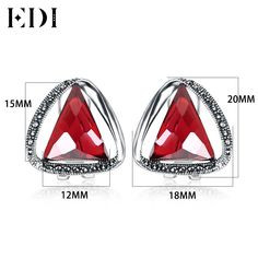 925 silver retro Jiashun ear clip ear clip type Garnet Stud earrings earrings female fashion triangle. Click visit to buy #FineJewelryEarring #Jewelry #Earring