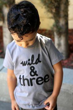 WILD THREE 3rd Birthday Shirt Toddler Boy Girl Three Year Old Black Grey Fuchsia Red 3 T