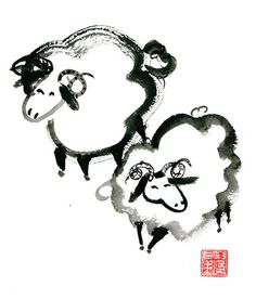 Year of the Sheep for the Chinese New Year Zodiac 2015, zen sumi ink large original painting for zen decor