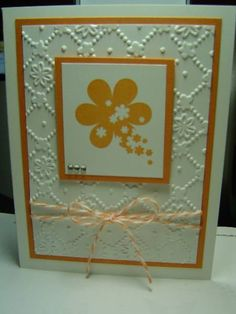 Stamps: Sprinkled Expressions  Paper: Whisper White, Peach Parfait  Ink: Peach Parfait  Accessories: Sizzix EF - Flower Lattice, Baker's Twine, Rhinestones  Techniques: Embossing