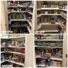 Pantries can become a place where food goes to die. When not organized items get lost and buried and forgotten. We purged expired food and items the family would never consume. Labeled and more functional rectangular bins were added to make everything easily seen and accessible.