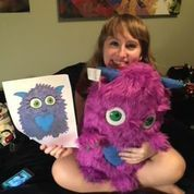 Fuzzy Purple Monster! Budsies takes your artwork and turns it into a custom one of a kind stuffed animal! Give as a gift or get one for yourself. #Budsies #StuffedAnimal #Gift