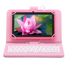 iRulu 7 Android 4 4 Pink Tablet Quad Core Dual Cameras w Keyboard 1024 600 Quad, Kindle Fire Kids, Kids Tablet, New Laptops, Multi Touch, Android 4, Laptop Accessories, Keyboard, Wifi