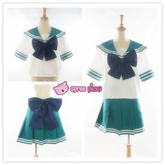 Daily Cosplay Sailor Moon Sailor Neptune Kaiou Michiru Dark Green Seifuku Uniform Top/Skirt/Bow SP151930/SP151931