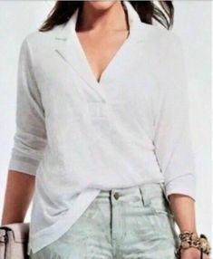 bd06a97b767fa7 Cabi Women's Size XL White Collar Tee style 237 cotton 3/4 Sleeve 47K #