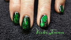 St. Patrick's Day sparkly green nails!