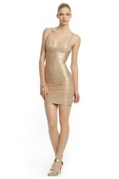 Herve Leger Golden Eye Dress.  Gold's trading at an all-time high these days, and you can see why.