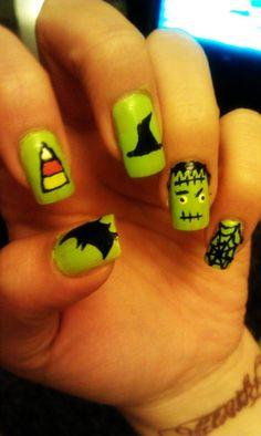Halloween Nail Art  Bat, Candy Corn, Witch Hat, Frankenstein, and Spider Web