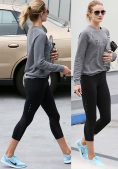 Rosie Huntington-Whiteley leaves the gym clutching a chic bottle of water and a purse