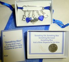 Something Blue Lucky Bridal Charm with Initials of Bride & Groom +Sixpence +Box