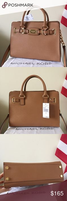 NWT Michael Kors Hamilton Satchel Beautiful purse! Acorn color with gold detailing. Saffiano leather. Great for all occasions. Authentic! New with tags.   Measurement: 14*12*6 inch  Dust bag and paper shopping bag are included. Michael Kors Bags Satchels
