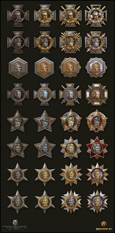 Achievements by Zanng on DeviantArt Game Ui Design, Badge Design, Icon Design, Game Gui, Game Icon, Gui Interface, Game Props, Mobile Art, World Of Tanks