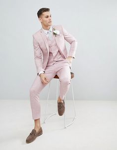 DESIGN wedding skinny suit jacket in pink cross hatch with printed lining - 2019 Prom - Mens Fashion Suits, Mens Suits, Men's Fashion, Fashion Guide, Fashion Blogs, Fashion Online, High Fashion, Fashion Ideas, Wedding Outfits