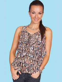 b87438c83f0dd1 Scully Women s lightweight feather print camisole with ruffle front. Scully  Sportswear · Honey Creek Collection