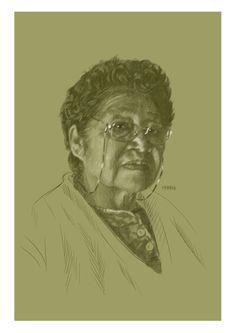 Retrato de Doña Ángela Treuque, la abuela de mi novia.