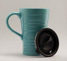 Ceramic Travel Mug With Lid Teal Blue