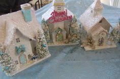 Natalie Loves...: Do-it-yourself glittered Christmas houses