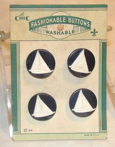 ButtonArtMuseum.com - Vintage Plastic Sailboat Novelty Buttons on Original Card 1930S