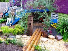 Second bridge and fairy log by Takoma Park Cooperative Nursery School, via Flickr