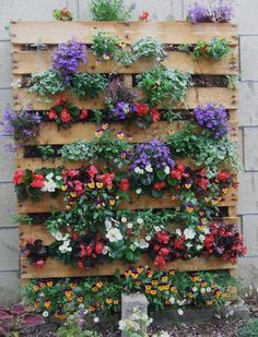 A wooden pallet filled with colorful flowers.