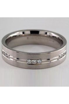 Etched Channel Set Diamond Band | High marks for this beautiful platinum 6mm diamond eternity band featuring a polished horizontal center trim between rows of three round cut stones. More details here... #weddingbands #mensweddingbands #weddingbandsformen Wedding Men, Wedding Bands, Stylish Rings, Classic Gold, Eternity Bands, Diamond Bands, Channel, Stones, White Gold