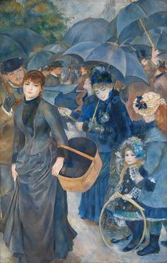 "Pierre-Auguste Renoir - The Umbrellas. Renoir was a French artist who was a leading painter in the development of the Impressionist style. As a celebrator of beauty, and especially feminine sensuality, it has been said that ""Renoir is the final representative of a tradition which runs directly from Rubens to Watteau."" (1841-1919). Wikipedia"