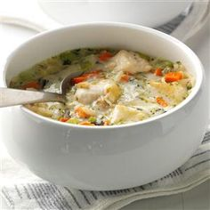 Quick Chicken & Wild rice soup - Really tasty...used more veggies than called for & added mushrooms along with wild, brown rice & quinoa blend.