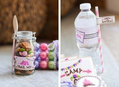 Trail Mix and Personalized Water Bottles - Glamping Party
