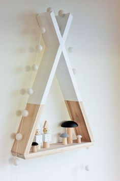 Teepee Shelf Shelves White Tribal Nursery Decor Woodland Decor Kid's Room Decor from AhAhOnline on Etsy. Saved to baby m. Glass Shelves, Floating Shelves, Wooden Shelves, Wall Shelves, Kids Decor, Diy Home Decor, Decor Ideas, Tribal Nursery, Deco Kids