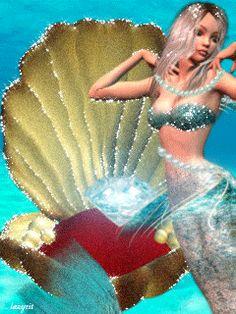 Imágenes Con Movimiento (Gifs) - Comunidad - Google+ Mermaid Gifs, Mermaid Art, Mermaid Images, Digital Art Fantasy, Fantasy Art, Capricorn Art, Colorful Skulls, Wolf Photos, Amazing Gifs