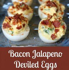 Jalapeno Bacon Deviled Eggs - http://www.pincookie.com/jalapeno-bacon-deviled-eggs/