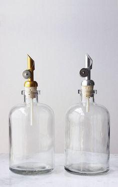 Mouthwash Dispenser Self Pour Spout Apothecary Glass Mouthwash Dispenser, Sink Soap Dispenser, Glass Dispenser, Soap Dispensers, Glass Spray Bottle, Glass Bottles, Pots, Amber Bottles, Linen Spray