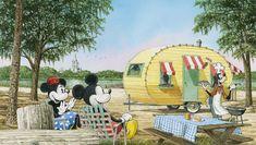Mickey Minnie and Goofy camping at Walt Disney World