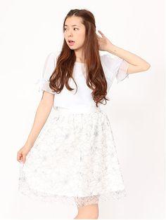 糸目花柄チュールスカート
