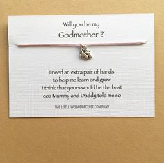 "Pretty little keepsake gift to ask ""Will you Be my Godmother?"". A wish bracelet is a lovely, affordable gift to give, and comes with a keepsake card, sure to put a smile on the recipient's face! If you don't want the slip knot and you prefer to have it left to tie on then just let me know. 